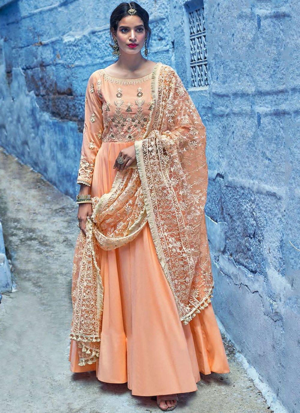Muslin Resham Anarkali Salwar Kameez in Peach