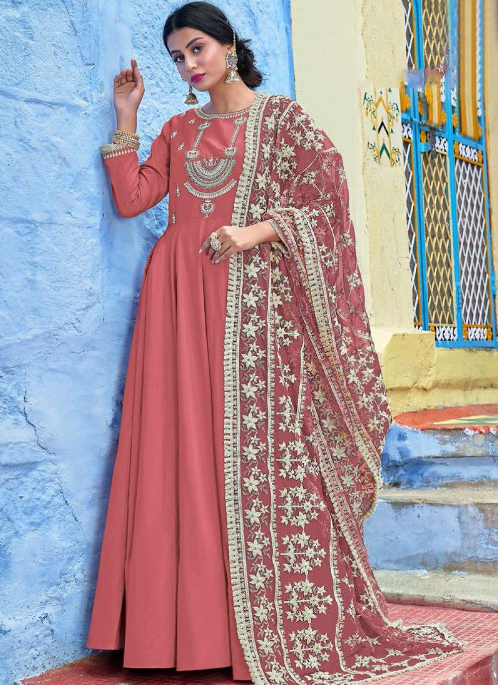 Muslin Resham Hot Pink Readymade Salwar Suit