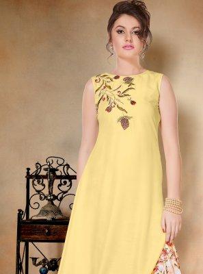 Muslin Yellow Printed Salwar Kameez