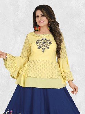 Muslin Yellow Resham Lehenga Choli