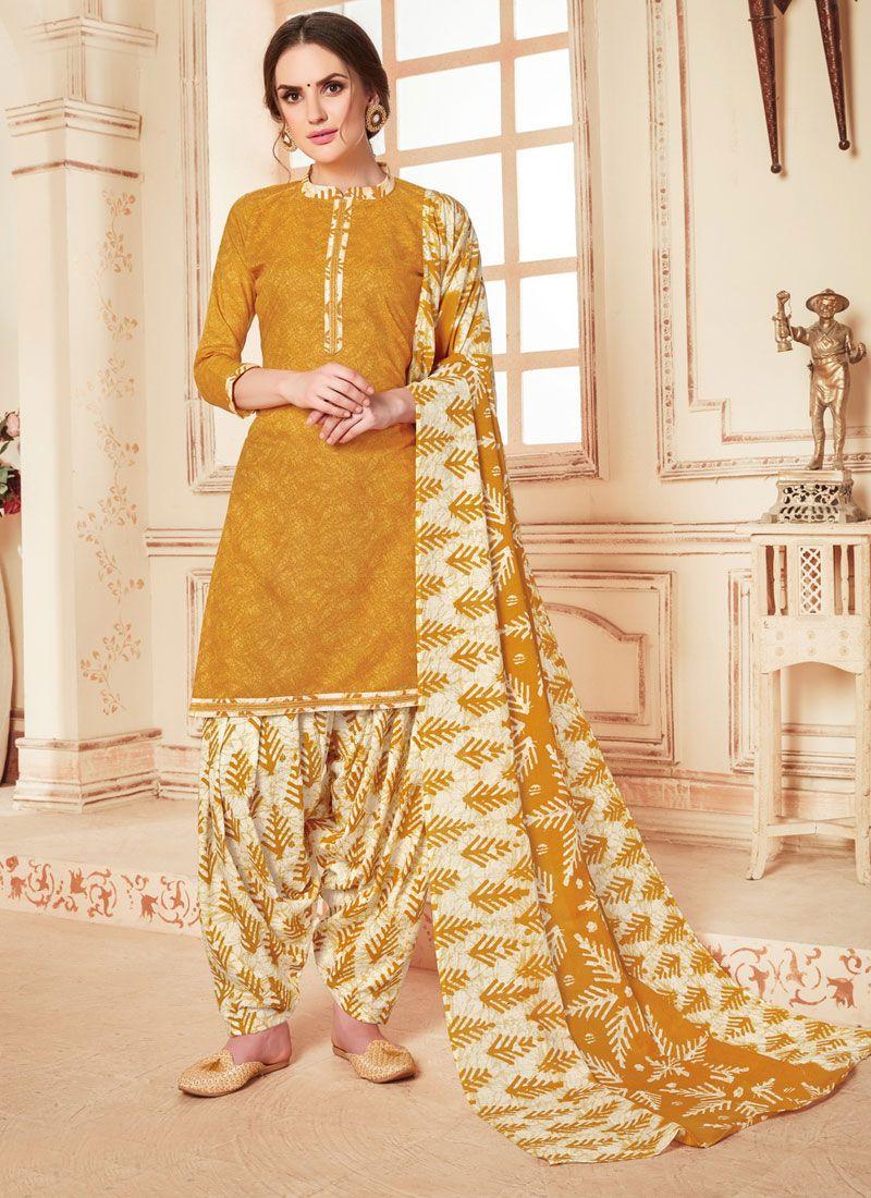 Mustard Abstract Print Cotton Punjabi Suit