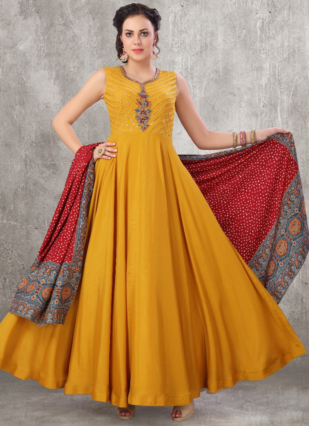Mustard Anarkali Suit
