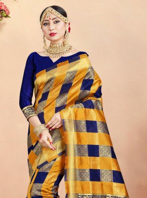 Mustard and Navy Blue Color Contemporary Saree