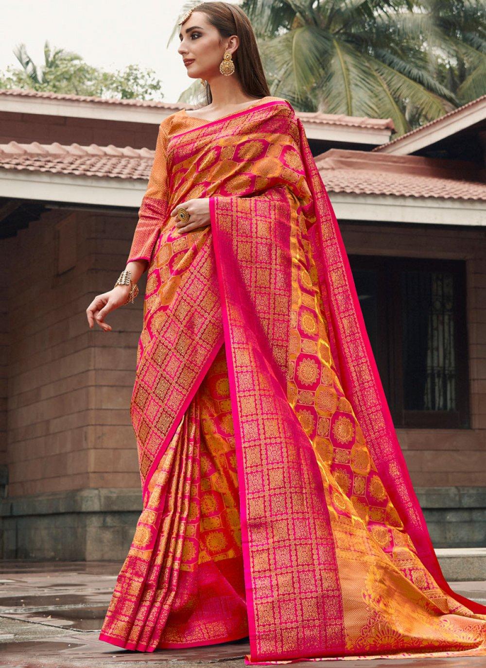 Mustard and Pink Party Silk Classic Designer Saree