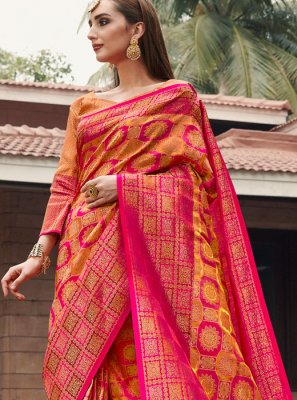 Mustard and Pink Party Silk Classic Designer Saree