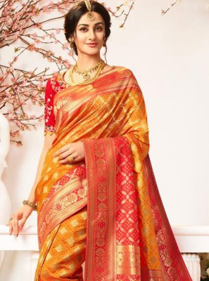 Mustard and Red Banarasi Silk Weaving Designer Half N Half Saree