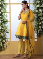 Mustard and Yellow Embroidered Party Salwar Suit