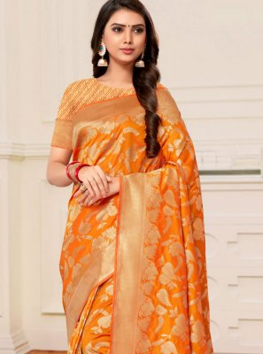 Mustard and Yellow Half N Half Trendy Saree