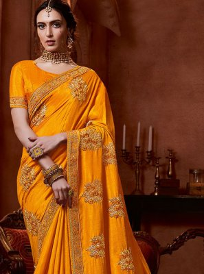 Mustard and Yellow Stone Work Traditional Saree