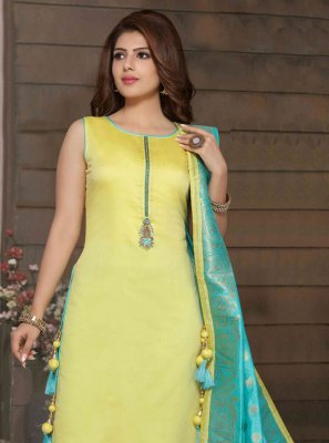 Mustard Art Silk Bollywood Salwar Kameez