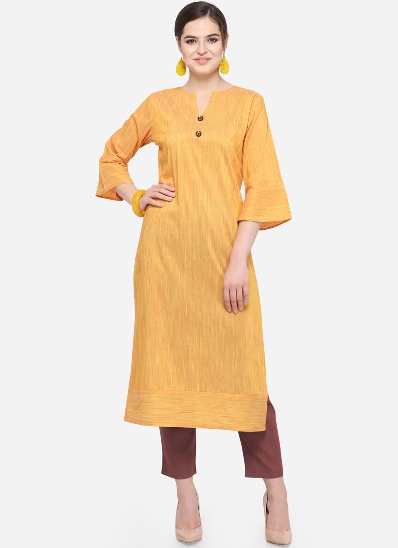 Mustard Art Silk Cotton Casual Party Wear Kurti