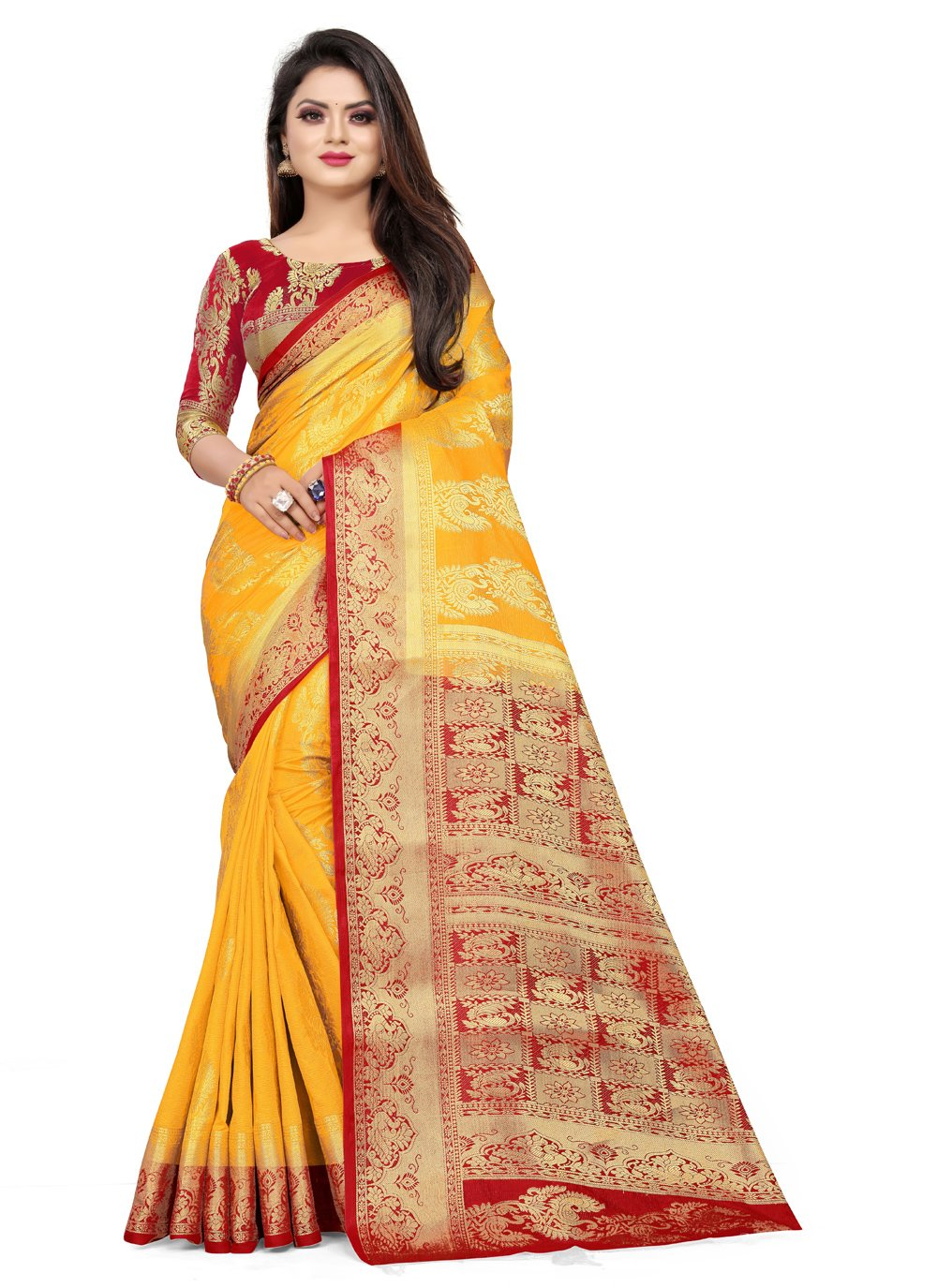 Mustard Art Silk Weaving Classic Designer Saree