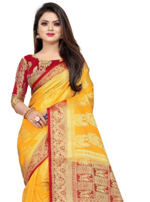 Mustard Art Silk Weaving Classic Designer Saree