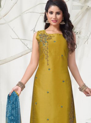 Mustard Banarasi Silk Churidar Suit