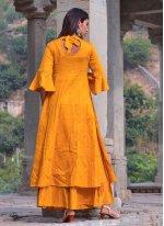 Mustard Block Print Jamawar Silk Designer Kurti