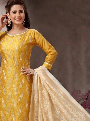 Mustard Casual Churidar Salwar Kameez
