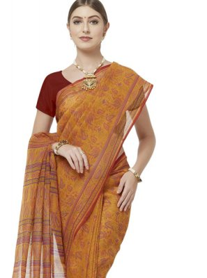 Mustard Casual Cotton Casual Saree