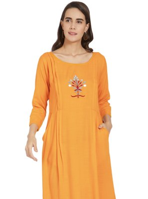 Mustard Casual Rayon Party Wear Kurti