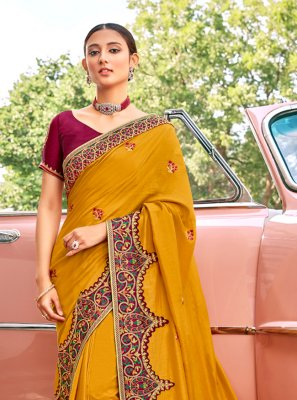 Mustard Ceremonial Contemporary Saree