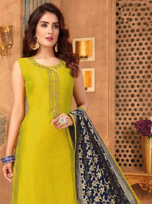 Mustard Ceremonial Trendy Churidar Suit