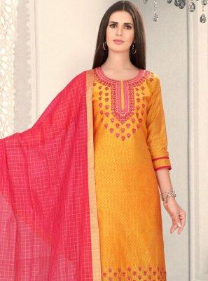 Mustard Chanderi Party Churidar Designer Suit