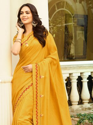 Mustard Color Silk Saree