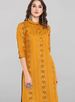 Mustard Cotton Casual Kurti