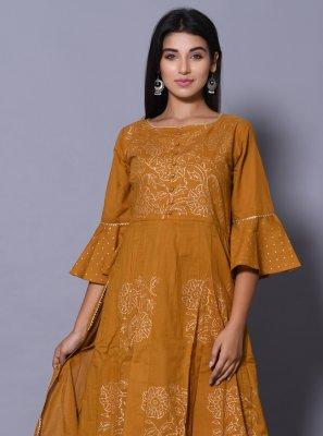 Mustard Cotton Designer Kurti