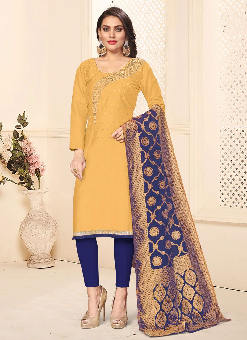 Mustard Cotton Embroidered Pant Style Suit