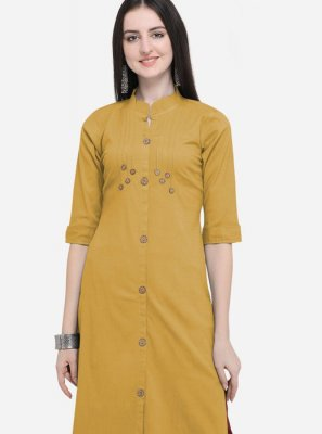 Mustard Cotton Reception Party Wear Kurti