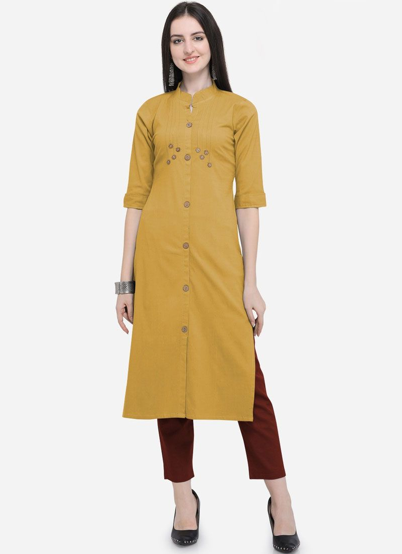 Mustard Cotton Reception Party Wear Kurti