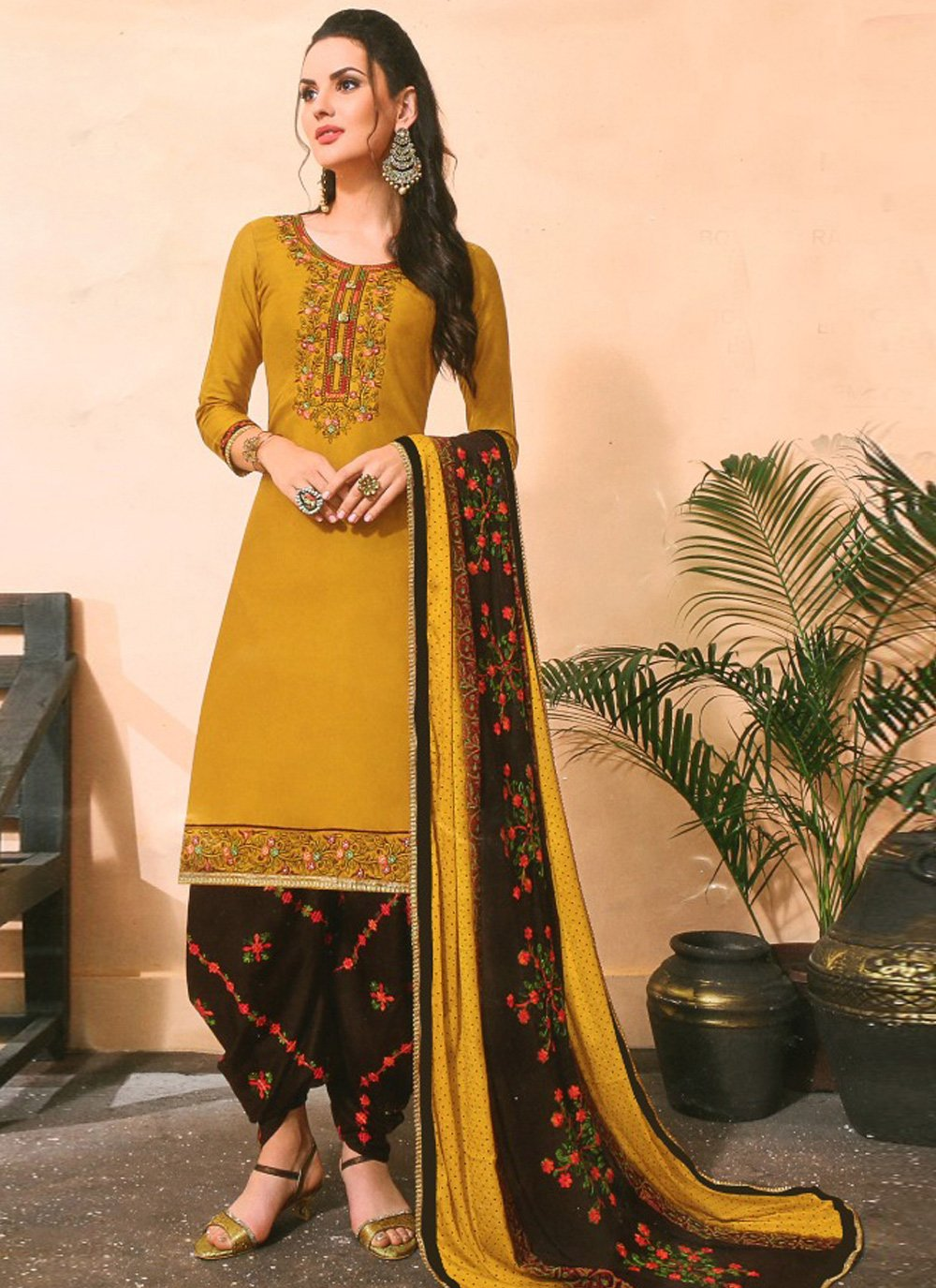 Mustard Cotton Silk Pakistani Salwar Kameez
