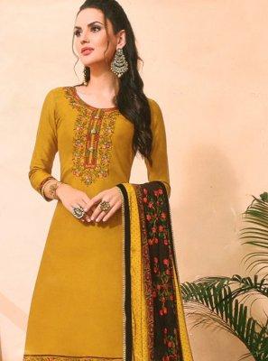 Mustard Cotton Silk Pakistani Salwar Kameez