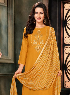 Mustard Cotton Trendy Salwar Suit