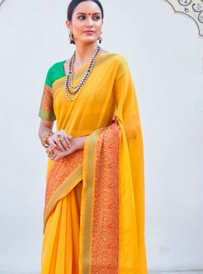 Mustard Cotton Woven Trendy Saree