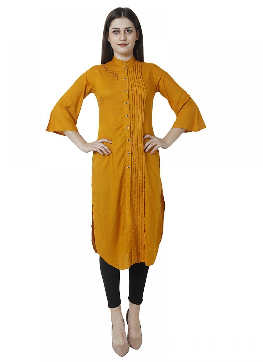 Mustard Designer Kurti