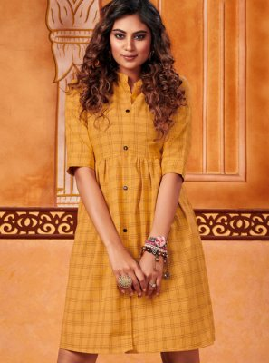 Mustard Embroidered Cotton Casual Kurti
