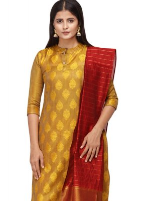 Mustard Embroidered Cotton Salwar Kameez