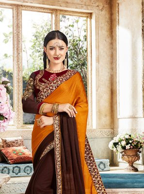 Mustard Embroidered Designer Saree