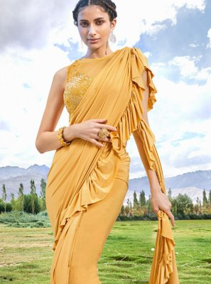 Mustard Embroidered Fancy Fabric Designer Traditional Saree