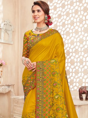 Mustard Embroidered Festival Saree