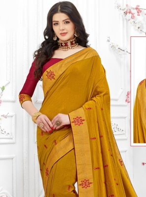 Mustard Embroidered Party Classic Saree