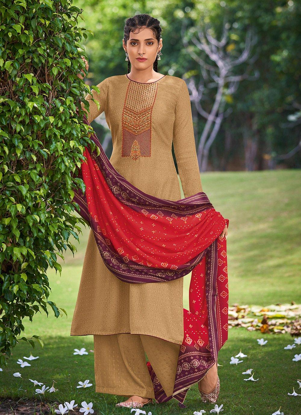 Mustard Embroidered Pashmina Salwar Kameez