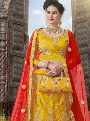 Mustard Embroidered Satin Silk A Line Lehenga Choli