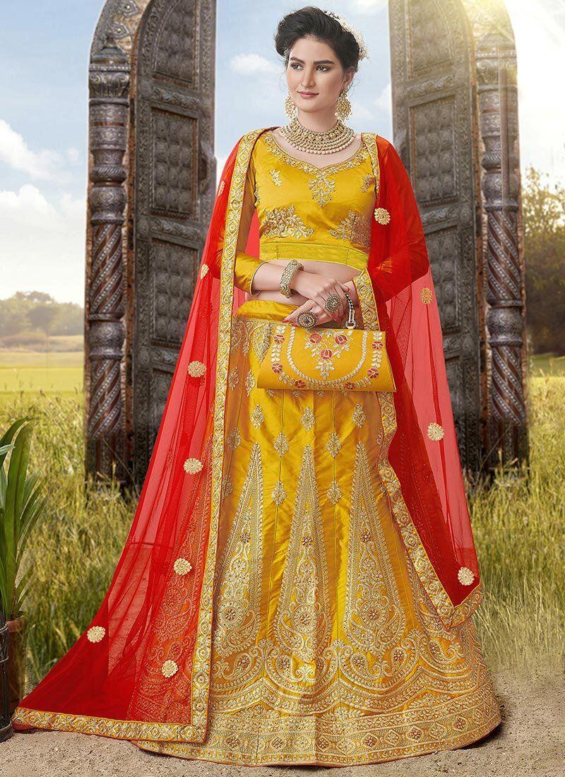 Mustard Embroidered Satin Silk A Line Lehenga Choli