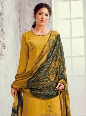 Mustard Embroidered Silk Designer Suit