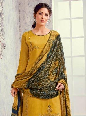 Mustard Embroidered Silk Designer Suit