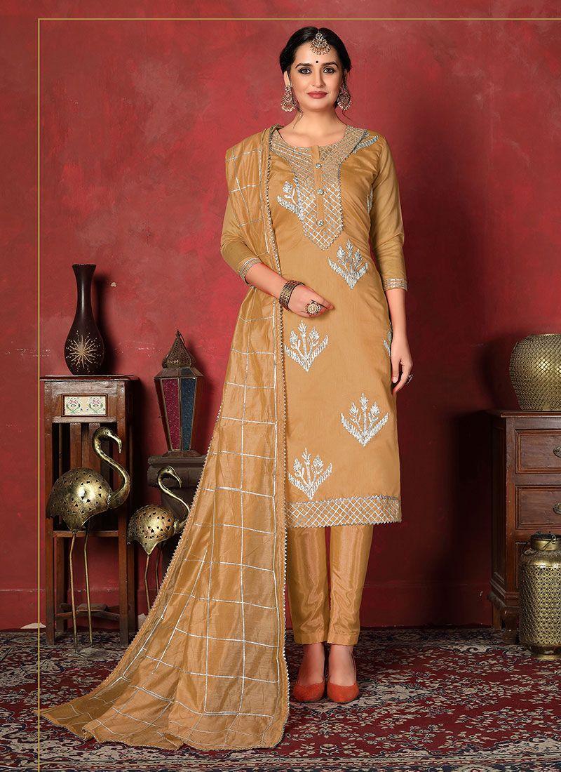 Mustard Fancy Fancy Fabric Churidar Designer Suit