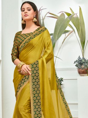 Mustard Faux Chiffon Traditional Saree