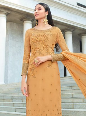 Mustard Faux Georgette Designer Salwar Kameez